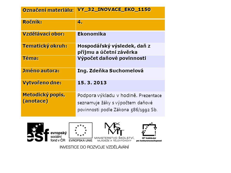 Označení materiálu : VY_32_INOVACE_EKO_1150Ročník:4. Vzdělávací obor: Ekonomika Tematický okruh: Hospodářský výsledek, daň z příjmu a účetní závěrka T