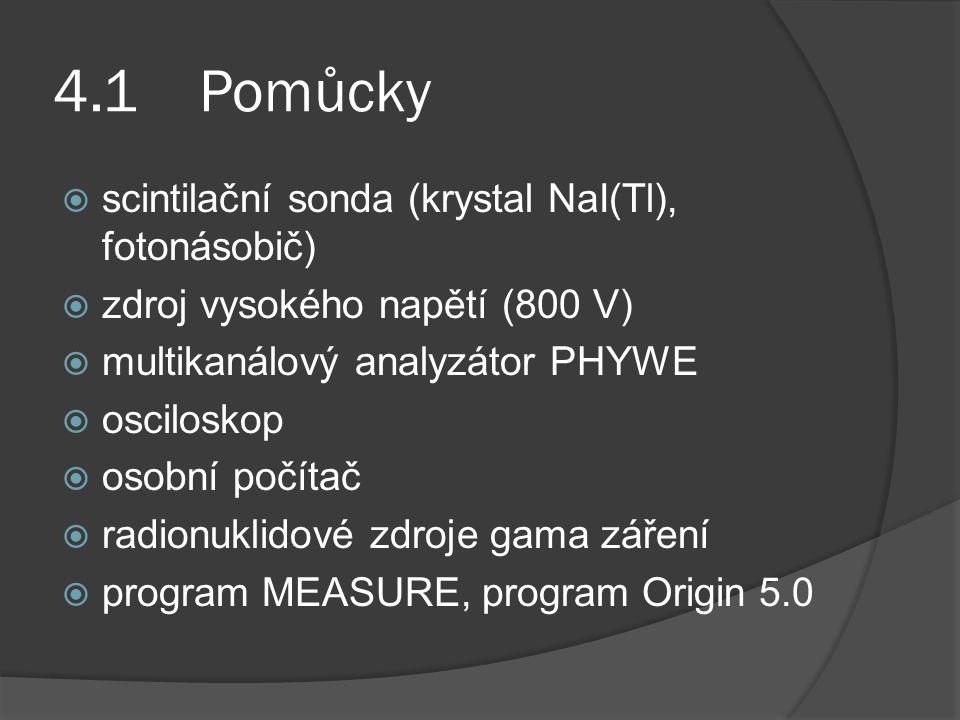 4.1 Pomůcky  scintilační sonda (krystal NaI(Tl), fotonásobič)  zdroj vysokého napětí (800 V)  multikanálový analyzátor PHYWE  osciloskop  osobní počítač  radionuklidové zdroje gama záření  program MEASURE, program Origin 5.0