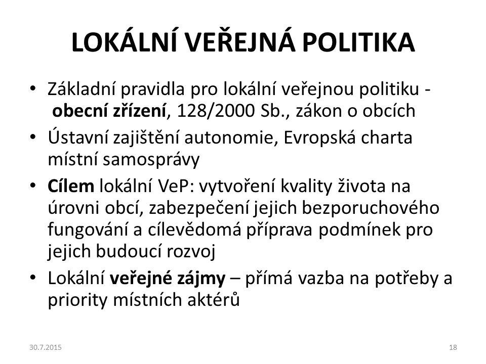 LOKÁLNÍ VEŘEJNÁ POLITIKA Základní pravidla pro lokální veřejnou politiku - obecní zřízení, 128/2000 Sb., zákon o obcích Ústavní zajištění autonomie, E