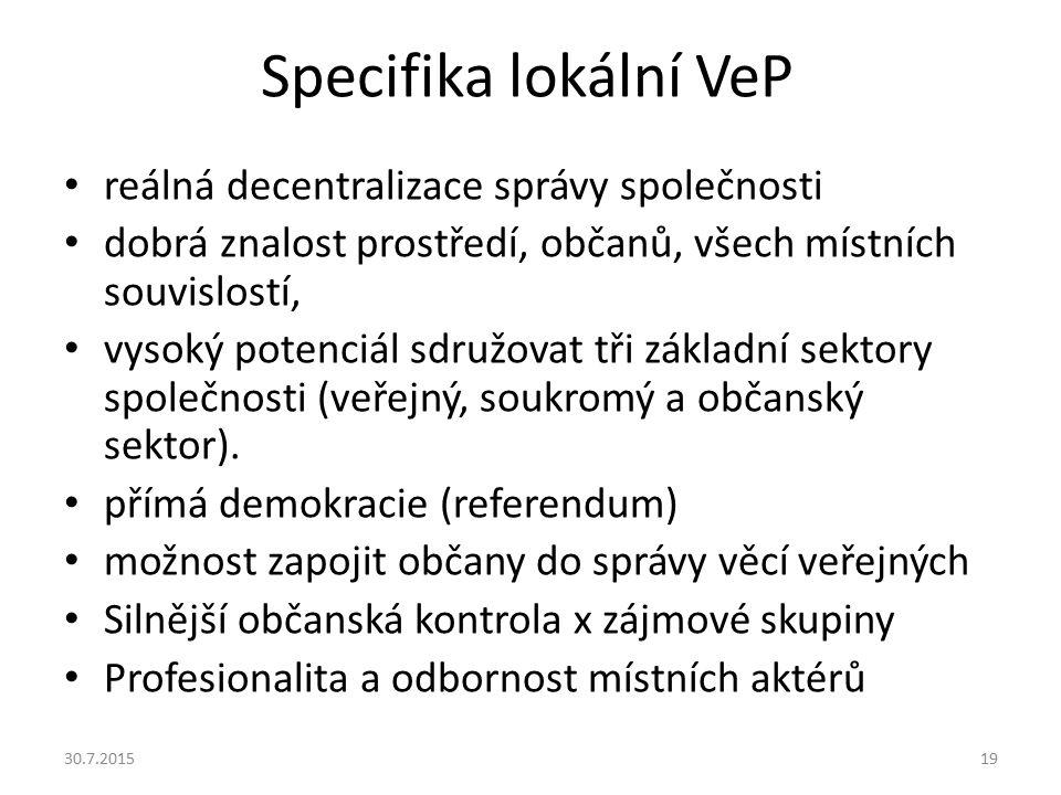 Specifika lokální VeP reálná decentralizace správy společnosti dobrá znalost prostředí, občanů, všech místních souvislostí, vysoký potenciál sdružovat
