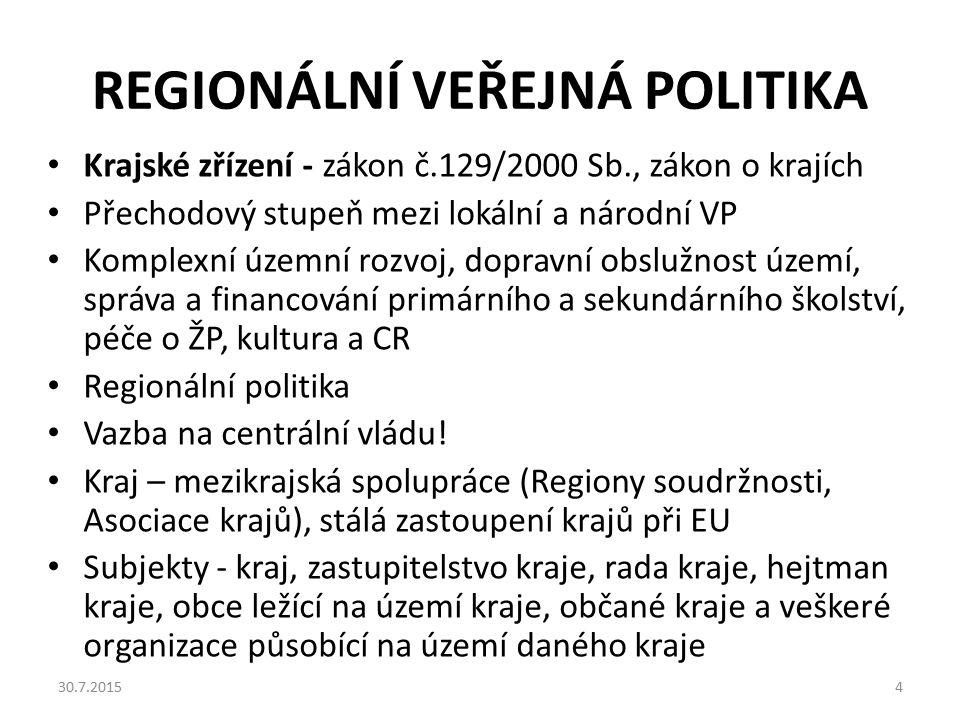 REGIONÁLNÍ VEŘEJNÁ POLITIKA Krajské zřízení - zákon č.129/2000 Sb., zákon o krajích Přechodový stupeň mezi lokální a národní VP Komplexní územní rozvo