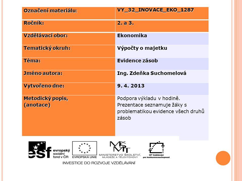 Označení materiálu : VY_32_INOVACE_EKO_1287Ročník: 2. a 3. Vzdělávací obor: Ekonomika Tematický okruh: Výpočty o majetku Téma: Evidence zásob Jméno au