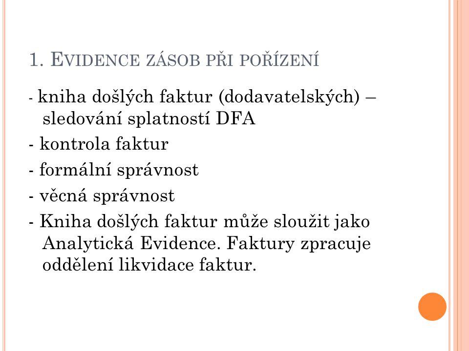 1. E VIDENCE ZÁSOB PŘI POŘÍZENÍ - kniha došlých faktur (dodavatelských) – sledování splatností DFA - kontrola faktur - formální správnost - věcná sprá