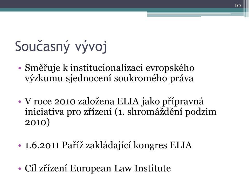 Současný vývoj Směřuje k institucionalizaci evropského výzkumu sjednocení soukromého práva V roce 2010 založena ELIA jako přípravná iniciativa pro zřízení (1.