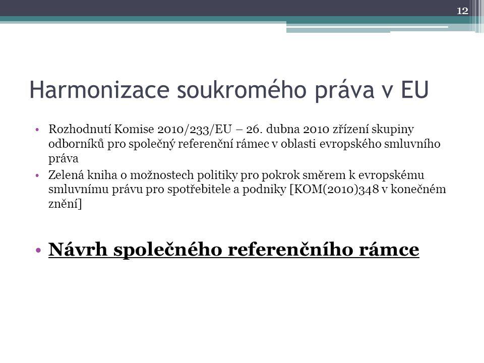 Harmonizace soukromého práva v EU Rozhodnutí Komise 2010/233/EU – 26.