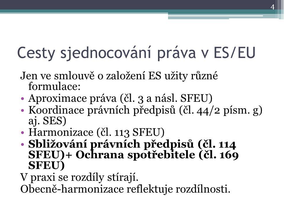 Cesty sjednocování práva v ES/EU Jen ve smlouvě o založení ES užity různé formulace: Aproximace práva (čl.