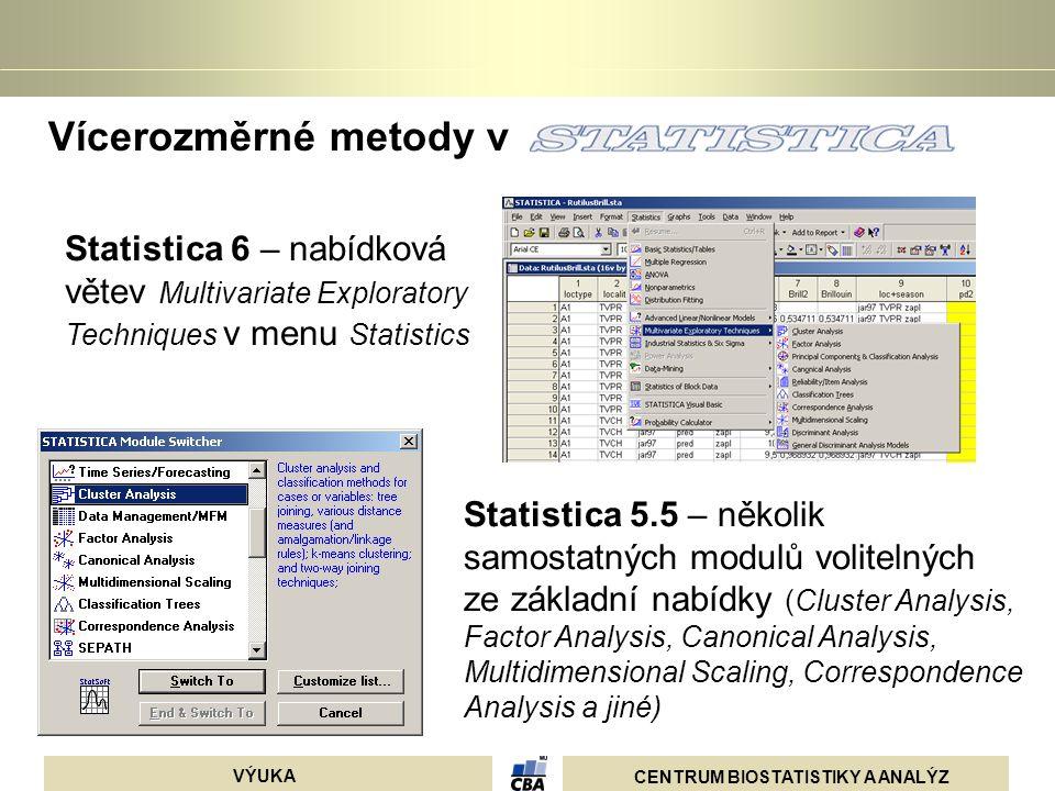 CENTRUM BIOSTATISTIKY A ANALÝZ VÝUKA Vícerozměrné metody v Statistica 6 – nabídková větev Multivariate Exploratory Techniques v menu Statistics Statis
