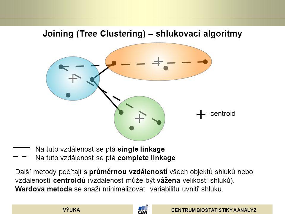 CENTRUM BIOSTATISTIKY A ANALÝZ VÝUKA Joining (Tree Clustering) – shlukovací algoritmy Na tuto vzdálenost se ptá single linkage Na tuto vzdálenost se p