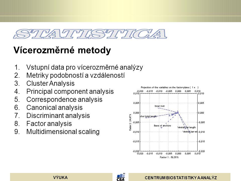 CENTRUM BIOSTATISTIKY A ANALÝZ VÝUKA relativní frekvence bodů v původní matici sloupce řádky Podíly řádků a sloupců suma celé matice Korespondenční analýza analyzuje kontingenční tabulky, k původní tabulce frekvencí je vytvořena tabulka očekávaných frekvencí a tyto dvě tabulky jsou pomocí  2 srovnány, analýza hledá takové nové dimenze, které vyčerpávají maximální část celkové  2 hodnoty (tzv.