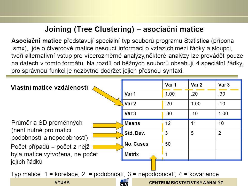 CENTRUM BIOSTATISTIKY A ANALÝZ VÝUKA Joining (Tree Clustering) – asociační matice Asociační matice představují speciální typ souborů programu Statisti