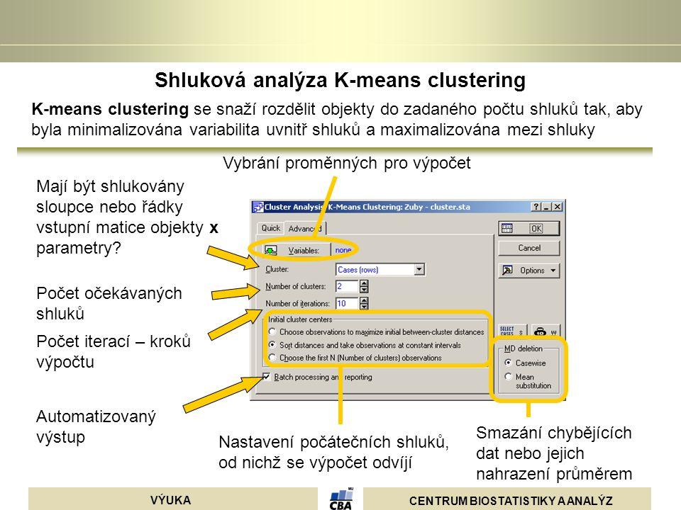 CENTRUM BIOSTATISTIKY A ANALÝZ VÝUKA Shluková analýza K-means clustering K-means clustering se snaží rozdělit objekty do zadaného počtu shluků tak, ab