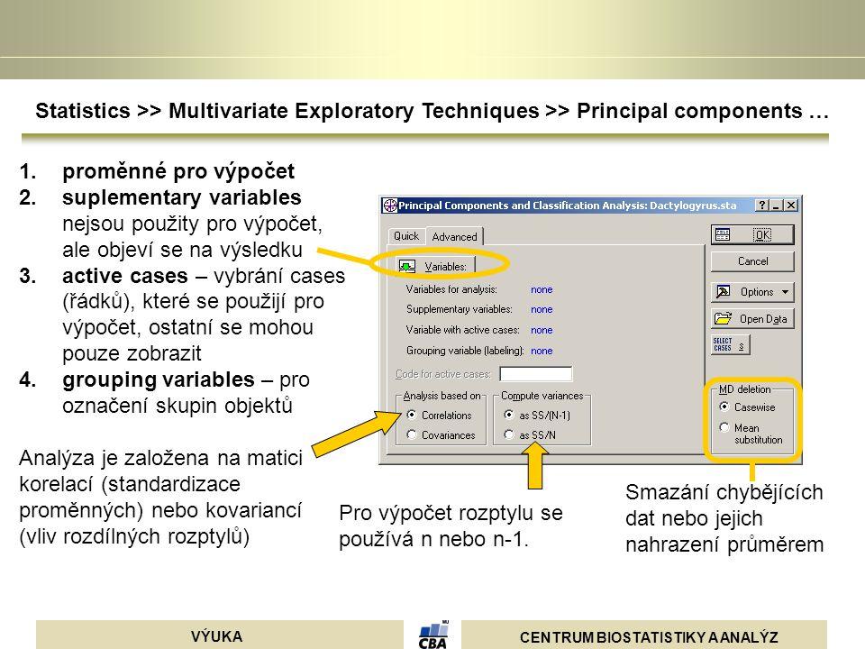 CENTRUM BIOSTATISTIKY A ANALÝZ VÝUKA Smazání chybějících dat nebo jejich nahrazení průměrem 1.proměnné pro výpočet 2.suplementary variables nejsou pou