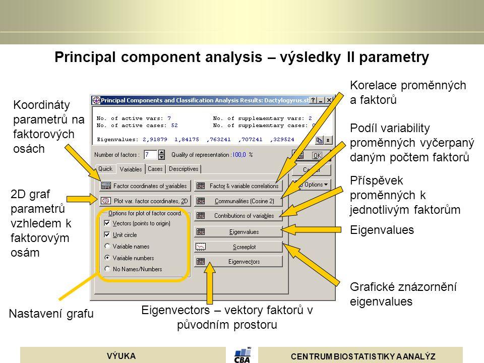 CENTRUM BIOSTATISTIKY A ANALÝZ VÝUKA Principal component analysis – výsledky II parametry 2D graf parametrů vzhledem k faktorovým osám Koordináty para