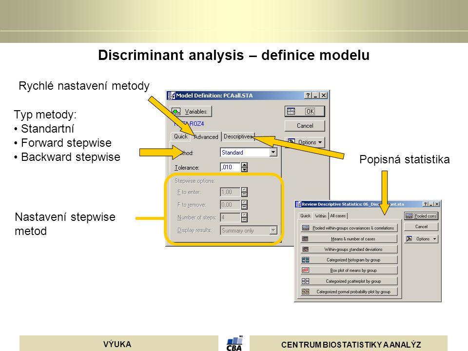 CENTRUM BIOSTATISTIKY A ANALÝZ VÝUKA Discriminant analysis – definice modelu Typ metody: Standartní Forward stepwise Backward stepwise Rychlé nastaven