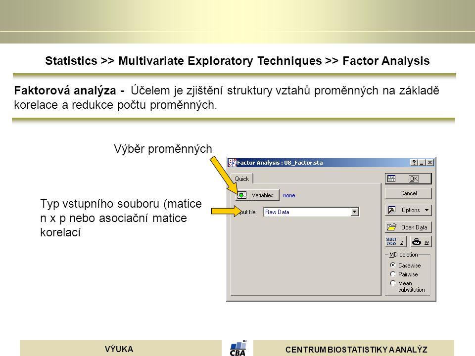 CENTRUM BIOSTATISTIKY A ANALÝZ VÝUKA Výběr proměnných Typ vstupního souboru (matice n x p nebo asociační matice korelací Statistics >> Multivariate Ex