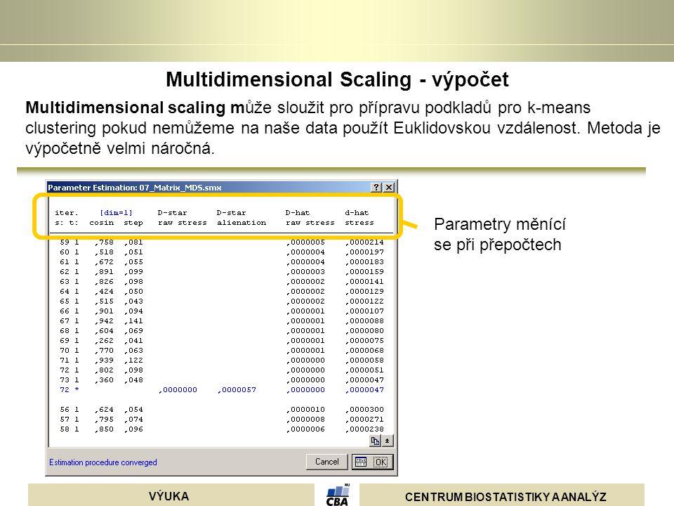 CENTRUM BIOSTATISTIKY A ANALÝZ VÝUKA Multidimensional Scaling - výpočet Parametry měnící se při přepočtech Multidimensional scaling může sloužit pro p