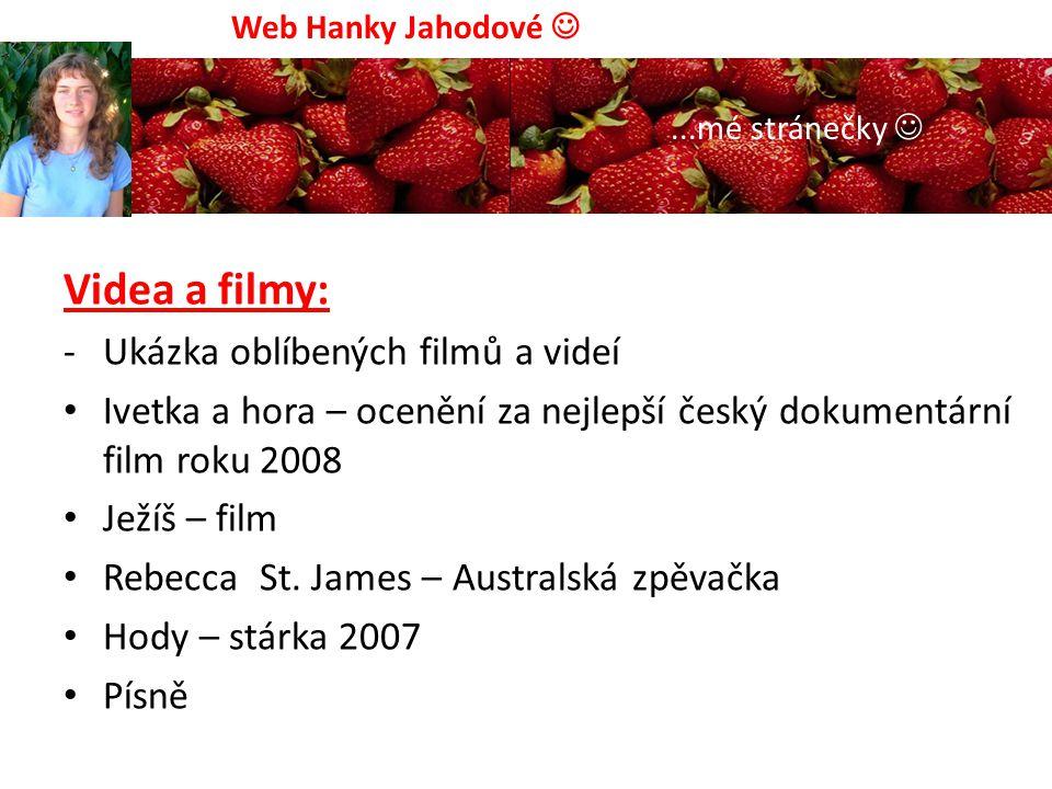 Mé oblíbené stránky: www.idnes.cz www.in.cz www.signaly.cz www.rajce.idnes.cz www.vkhcr.org/brno/ a mnoho dalších Web Hanky Jahodové...mé stránečky