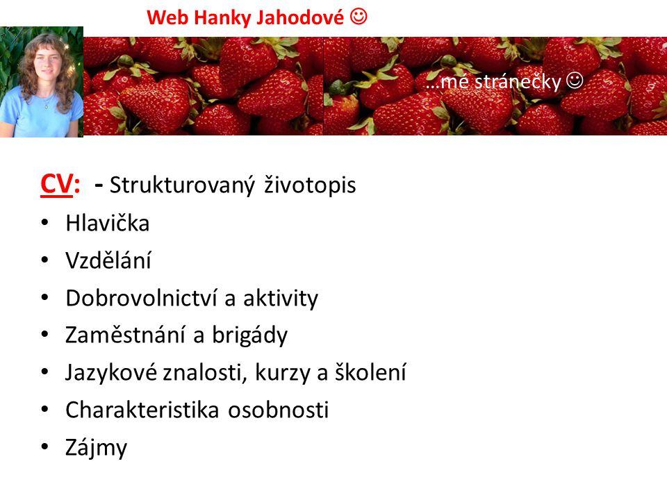Web Hanky Jahodové …mé stránečky Neváhejte a napište mi...:) Napište mi:
