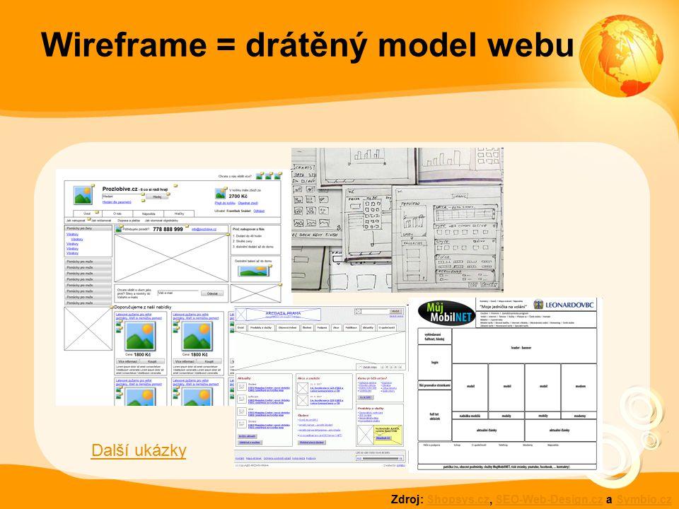 Wireframe = drátěný model webu Zdroj: Shopsys.cz, SEO-Web-Design.cz a Symbio.czShopsys.czSEO-Web-Design.czSymbio.cz Další ukázky