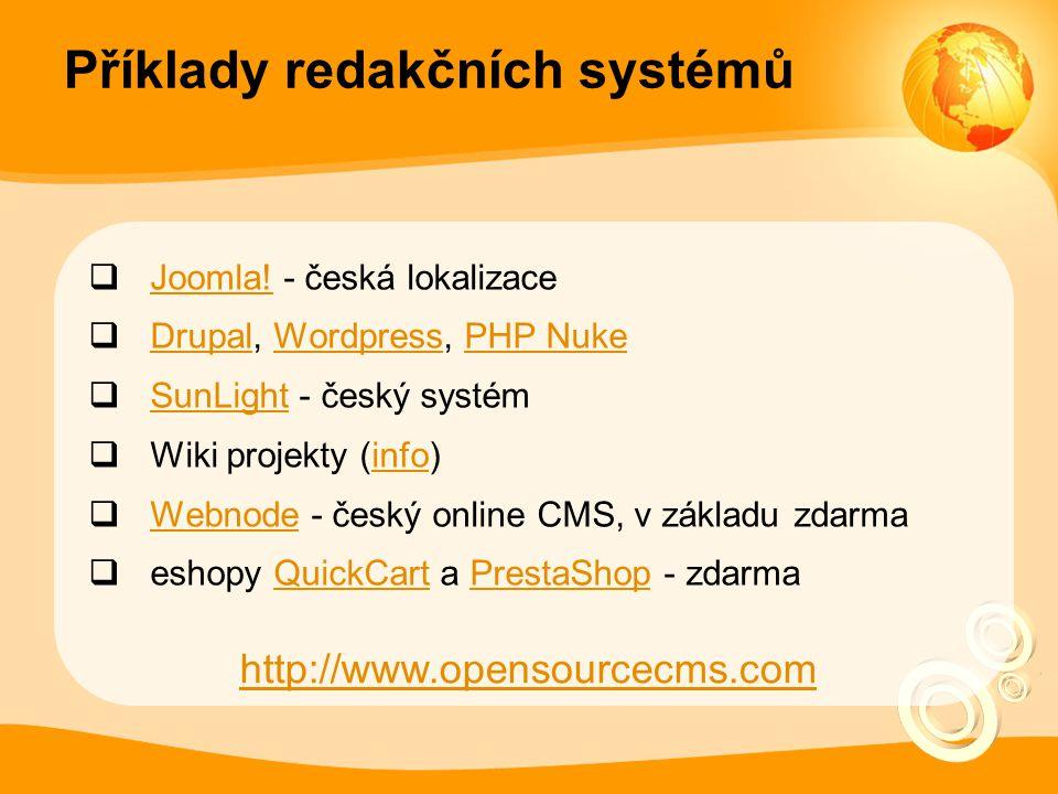 Příklady redakčních systémů  Joomla. - česká lokalizace Joomla.