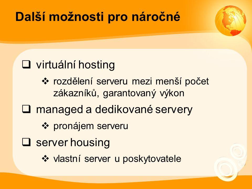 Další možnosti pro náročné  virtuální hosting  rozdělení serveru mezi menší počet zákazníků, garantovaný výkon  managed a dedikované servery  pronájem serveru  server housing  vlastní server u poskytovatele