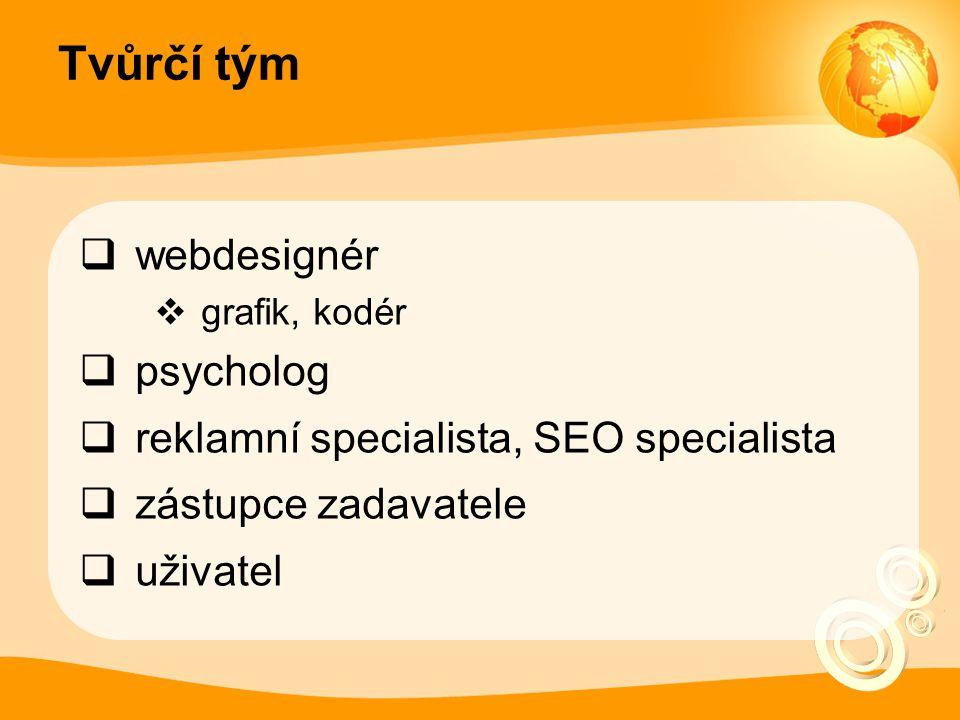 Tvůrčí tým  webdesignér  grafik, kodér  psycholog  reklamní specialista, SEO specialista  zástupce zadavatele  uživatel