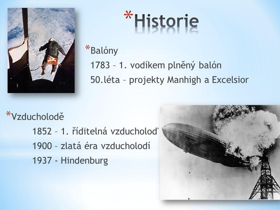 * Balóny 1783 – 1. vodíkem plněný balón 50.léta – projekty Manhigh a Excelsior * Vzducholodě 1852 – 1. říditelná vzducholoď 1900 – zlatá éra vzducholo