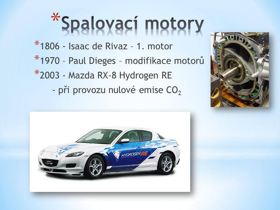 * 1806 - Isaac de Rivaz – 1. motor * 1970 – Paul Dieges – modifikace motorů * 2003 - Mazda RX-8 Hydrogen RE - při provozu nulové emise CO 2