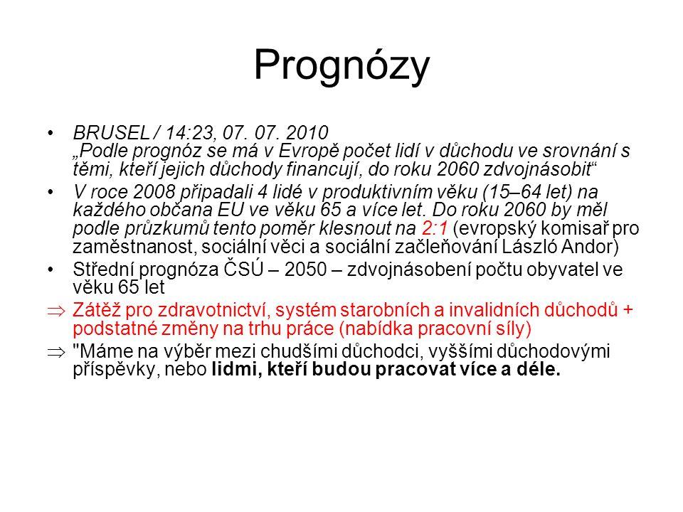 """Prognózy BRUSEL / 14:23, 07. 07. 2010 """"Podle prognóz se má v Evropě počet lidí v důchodu ve srovnání s těmi, kteří jejich důchody financují, do roku 2"""