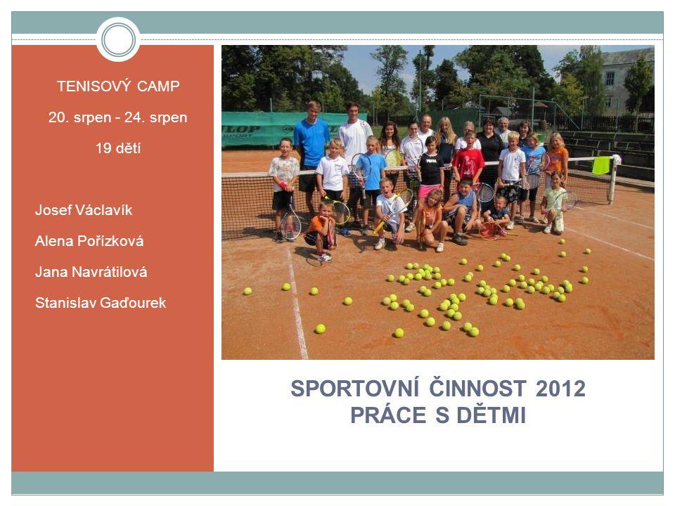 SPORTOVNÍ ČINNOST 2012 PRÁCE S DĚTMI TENISOVÝ CAMP 20.