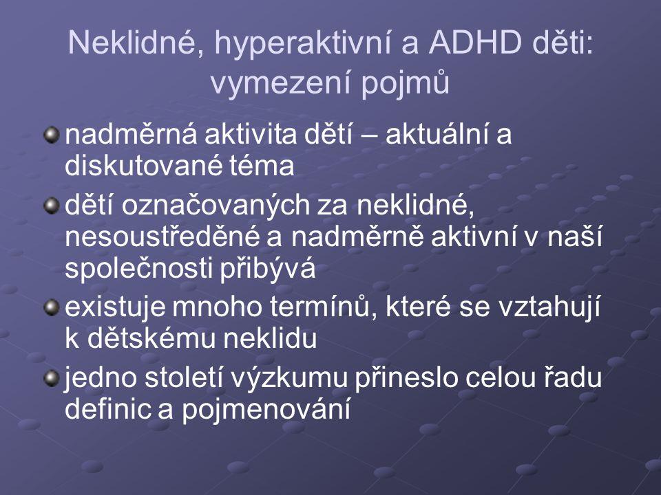 Neklidné, hyperaktivní a ADHD děti: vymezení pojmů nadměrná aktivita dětí – aktuální a diskutované téma dětí označovaných za neklidné, nesoustředěné a