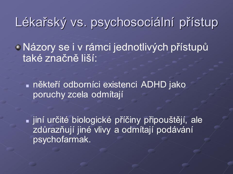 Lékařský vs. psychosociální přístup Názory se i v rámci jednotlivých přístupů také značně liší: někteří odborníci existenci ADHD jako poruchy zcela od