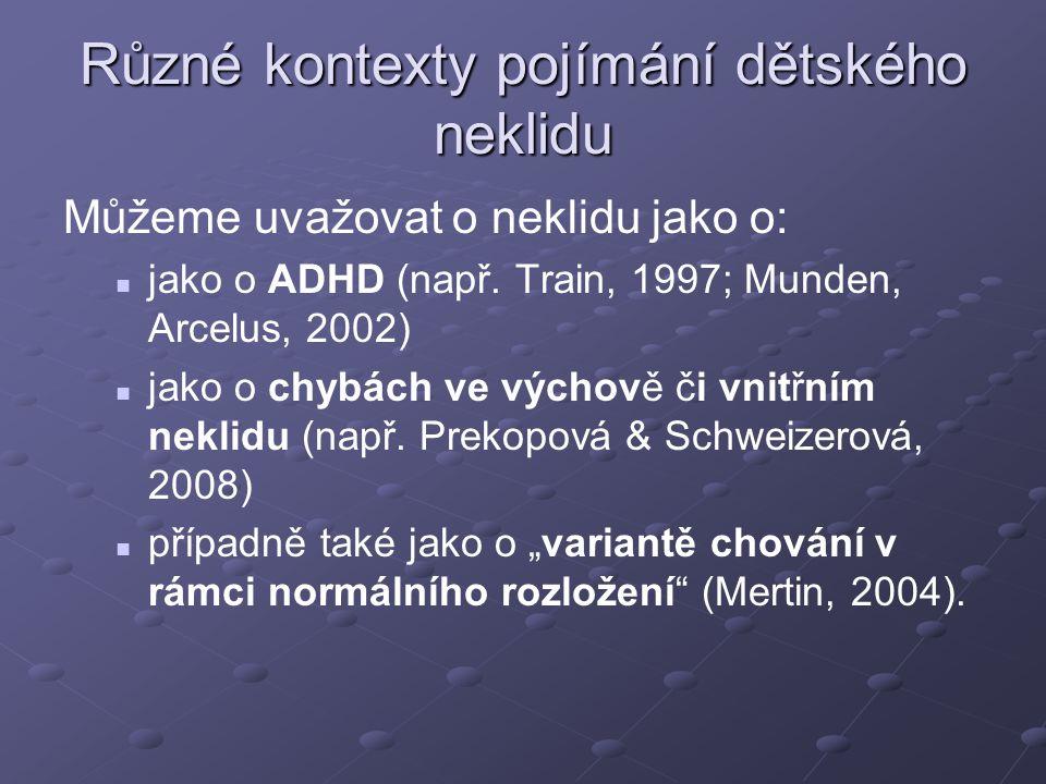 Různé kontexty pojímání dětského neklidu Můžeme uvažovat o neklidu jako o: jako o ADHD (např. Train, 1997; Munden, Arcelus, 2002) jako o chybách ve vý