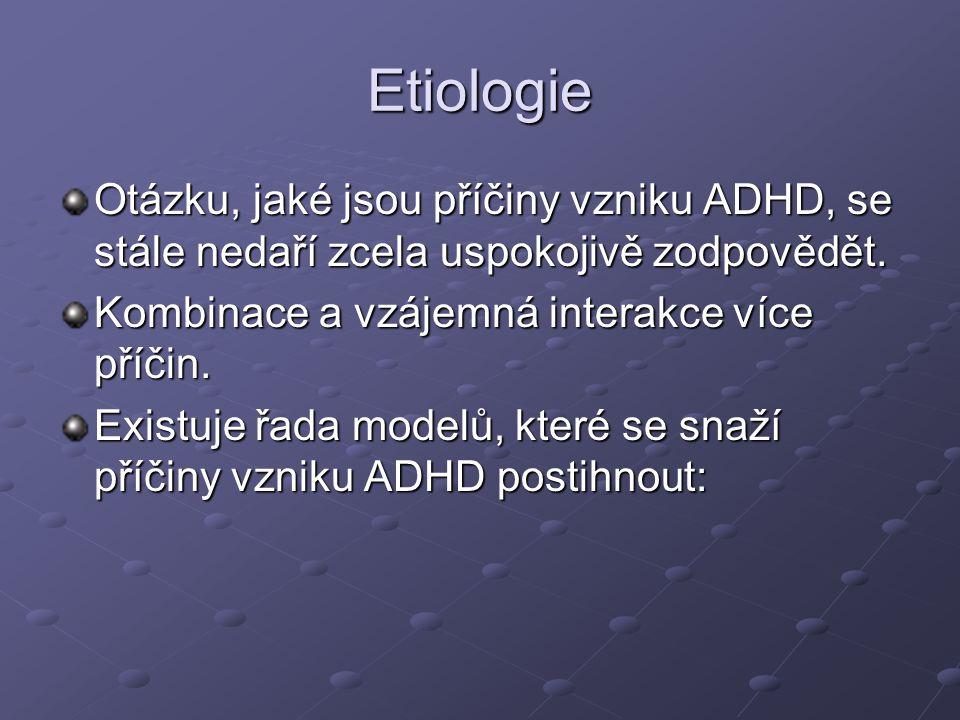 Etiologie Otázku, jaké jsou příčiny vzniku ADHD, se stále nedaří zcela uspokojivě zodpovědět. Kombinace a vzájemná interakce více příčin. Existuje řad