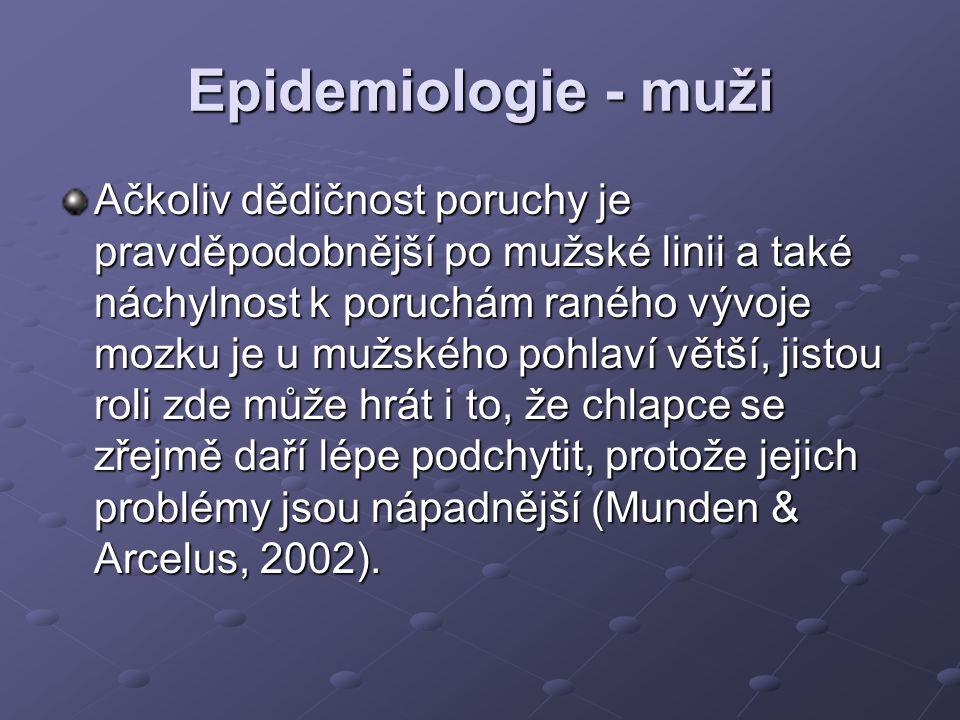 Epidemiologie - muži Ačkoliv dědičnost poruchy je pravděpodobnější po mužské linii a také náchylnost k poruchám raného vývoje mozku je u mužského pohl