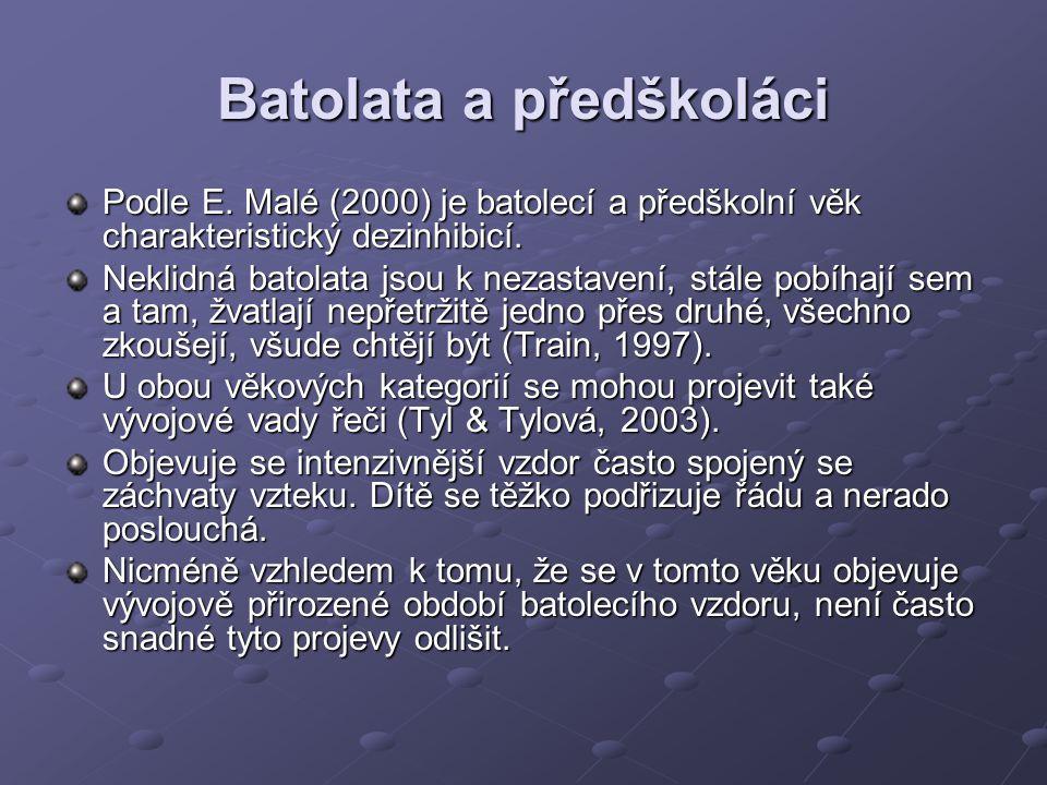Batolata a předškoláci Podle E. Malé (2000) je batolecí a předškolní věk charakteristický dezinhibicí. Neklidná batolata jsou k nezastavení, stále pob