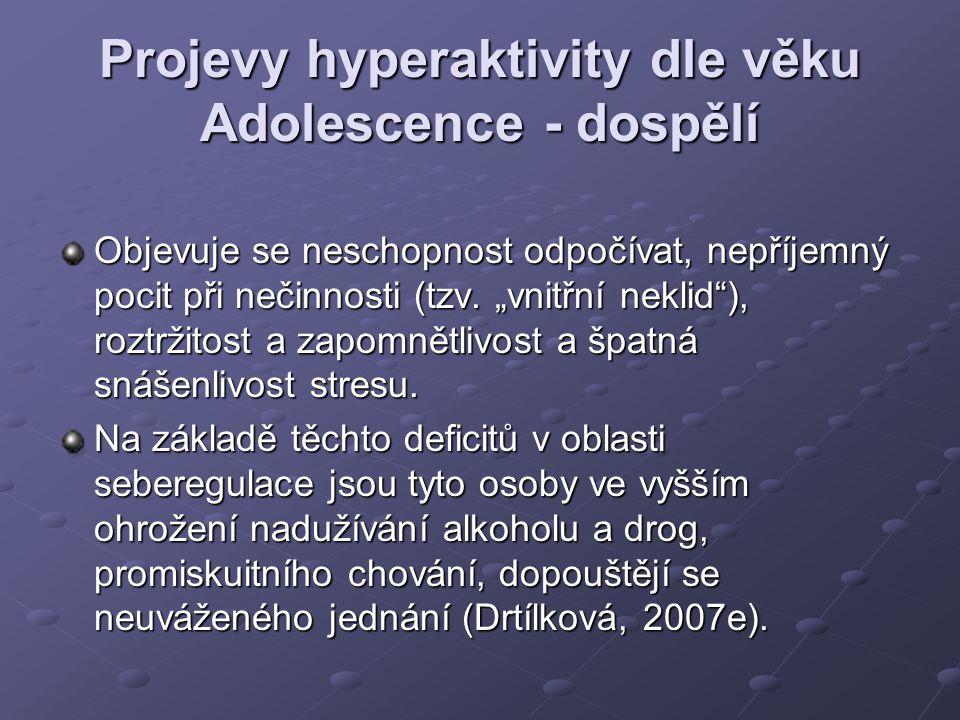 """Projevy hyperaktivity dle věku Adolescence - dospělí Objevuje se neschopnost odpočívat, nepříjemný pocit při nečinnosti (tzv. """"vnitřní neklid""""), roztr"""