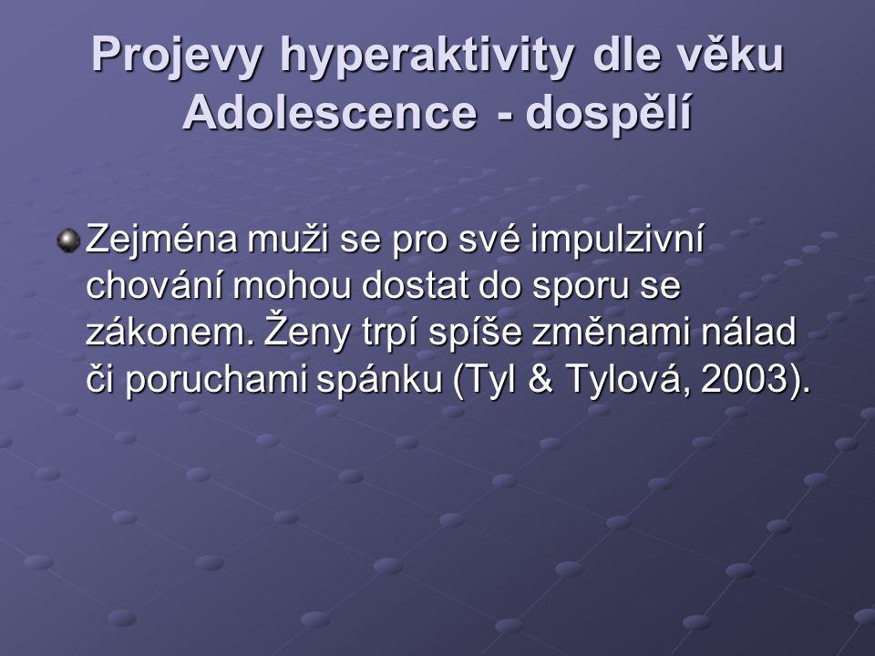 Projevy hyperaktivity dle věku Adolescence - dospělí Zejména muži se pro své impulzivní chování mohou dostat do sporu se zákonem. Ženy trpí spíše změn