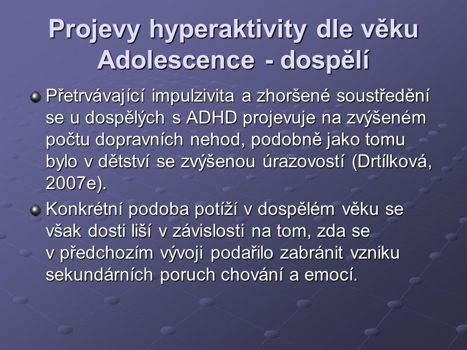 Projevy hyperaktivity dle věku Adolescence - dospělí Přetrvávající impulzivita a zhoršené soustředění se u dospělých s ADHD projevuje na zvýšeném počt