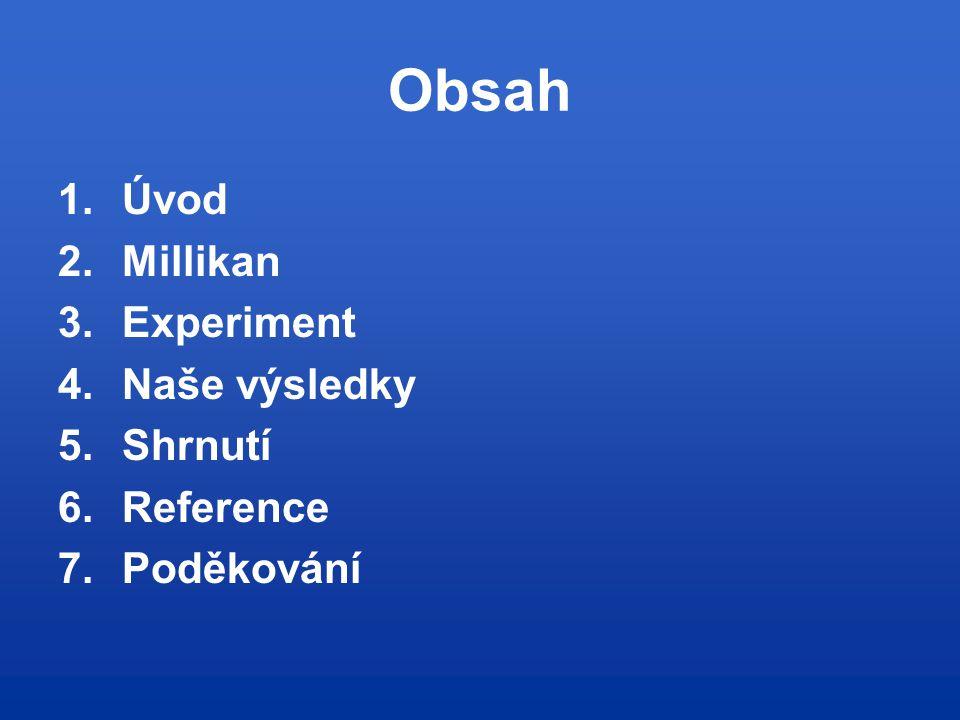 Obsah 1.Úvod 2.Millikan 3.Experiment 4.Naše výsledky 5.Shrnutí 6.Reference 7.Poděkování