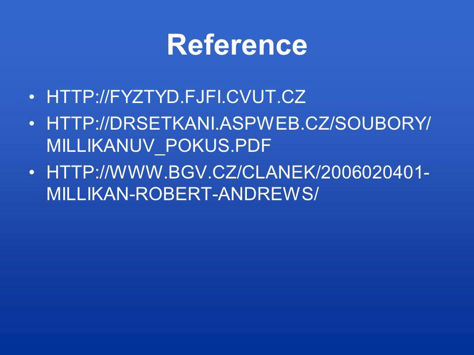 Reference HTTP://FYZTYD.FJFI.CVUT.CZ HTTP://DRSETKANI.ASPWEB.CZ/SOUBORY/ MILLIKANUV_POKUS.PDF HTTP://WWW.BGV.CZ/CLANEK/2006020401- MILLIKAN-ROBERT-ANDREWS/