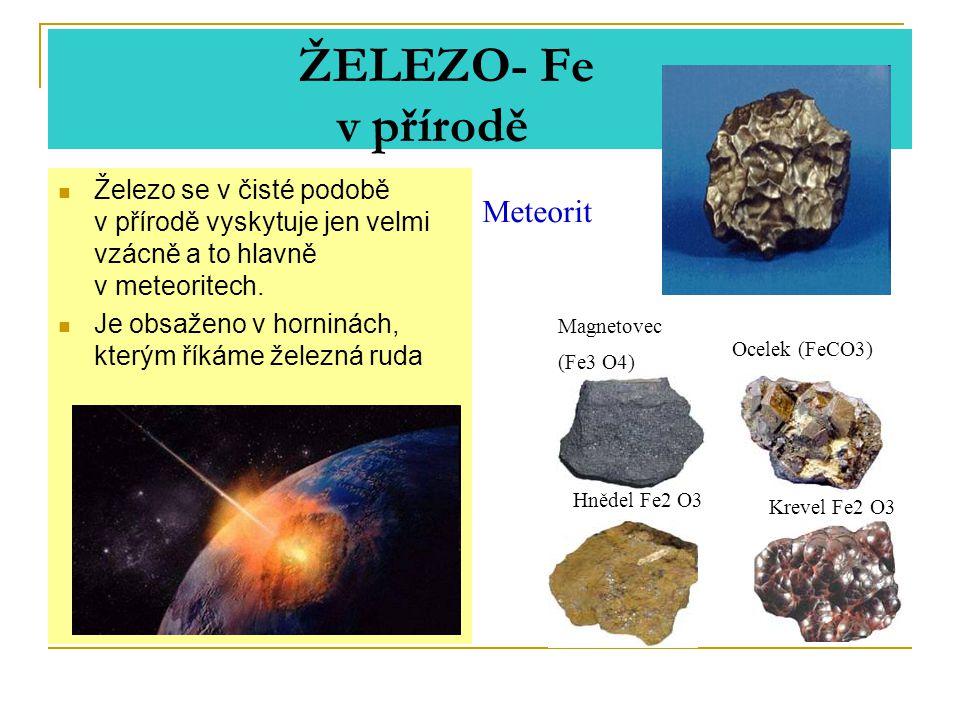 ŽELEZO- Fe v přírodě Železo se v čisté podobě v přírodě vyskytuje jen velmi vzácně a to hlavně v meteoritech.