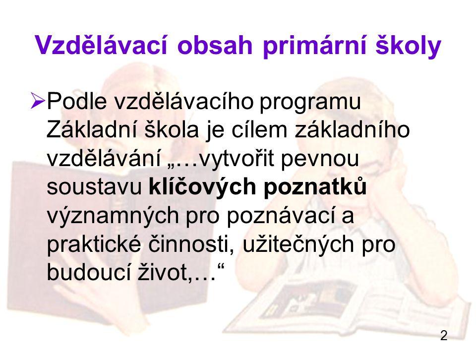 """2 Vzdělávací obsah primární školy  Podle vzdělávacího programu Základní škola je cílem základního vzdělávání """"…vytvořit pevnou soustavu klíčových poz"""