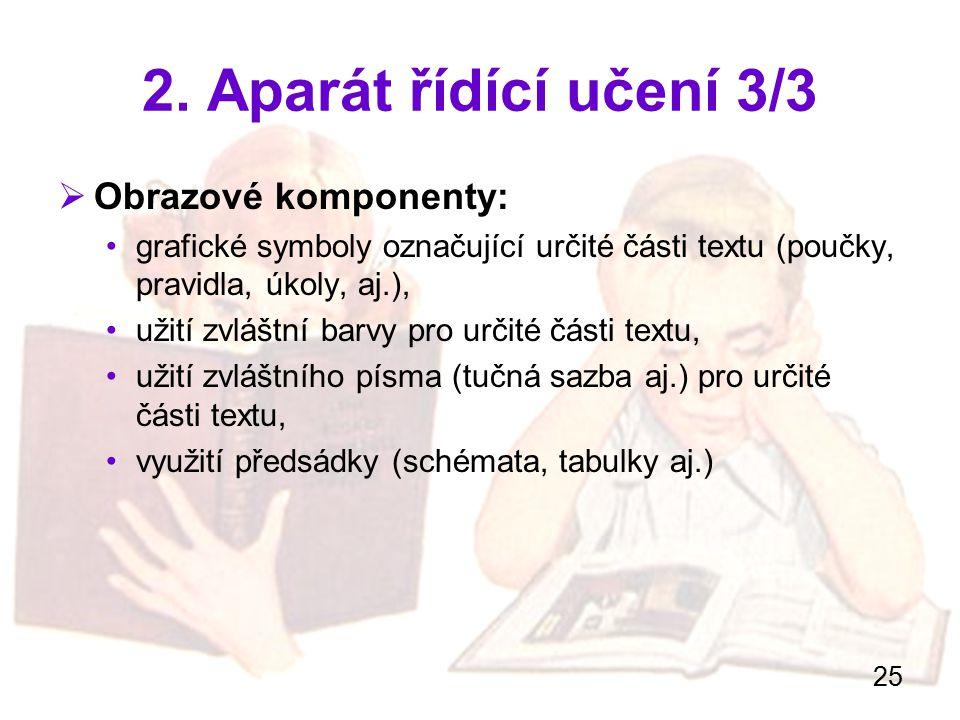 25 2. Aparát řídící učení 3/3  Obrazové komponenty: grafické symboly označující určité části textu (poučky, pravidla, úkoly, aj.), užití zvláštní bar