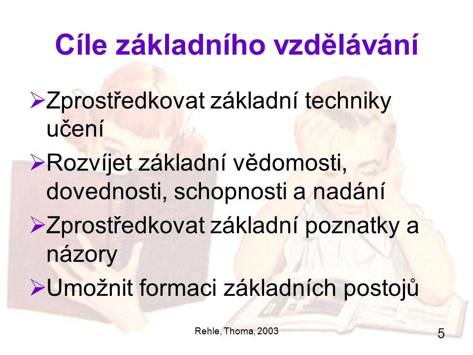 Rehle, Thoma, 2003 5 Cíle základního vzdělávání  Zprostředkovat základní techniky učení  Rozvíjet základní vědomosti, dovednosti, schopnosti a nadán
