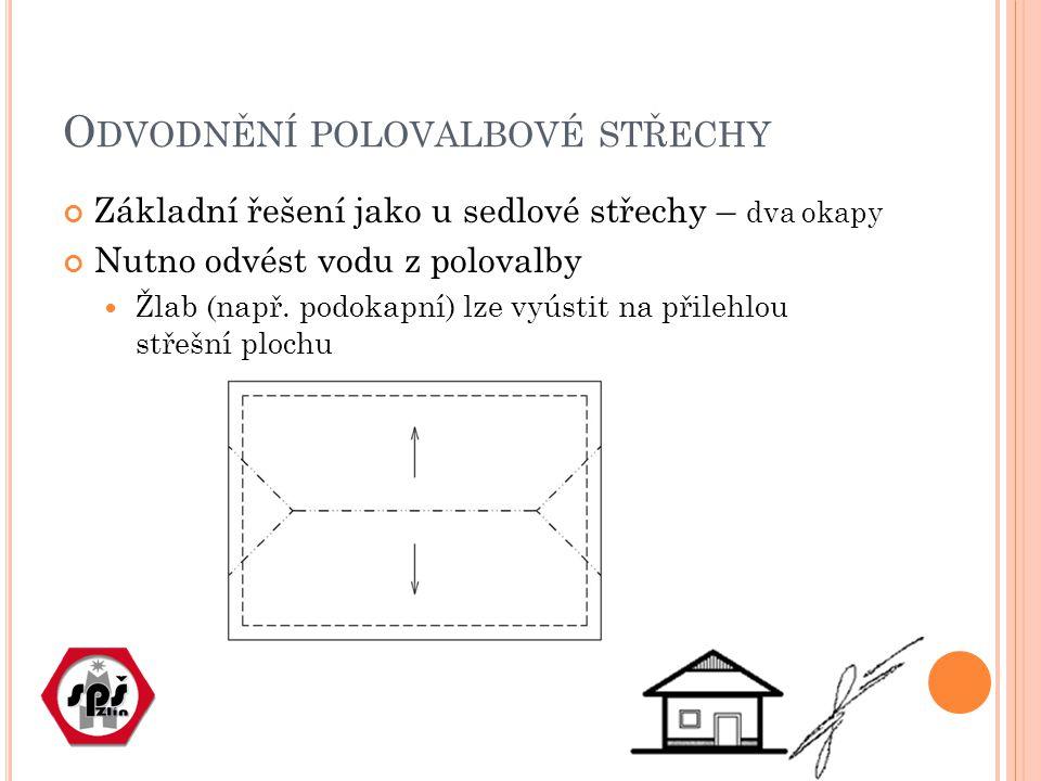 O DVODNĚNÍ POLOVALBOVÉ STŘECHY Základní řešení jako u sedlové střechy – dva okapy Nutno odvést vodu z polovalby Žlab (např.