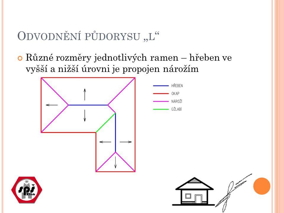 """O DVODNĚNÍ PŮDORYSU """" L Různé rozměry jednotlivých ramen – hřeben ve vyšší a nižší úrovni je propojen nárožím"""