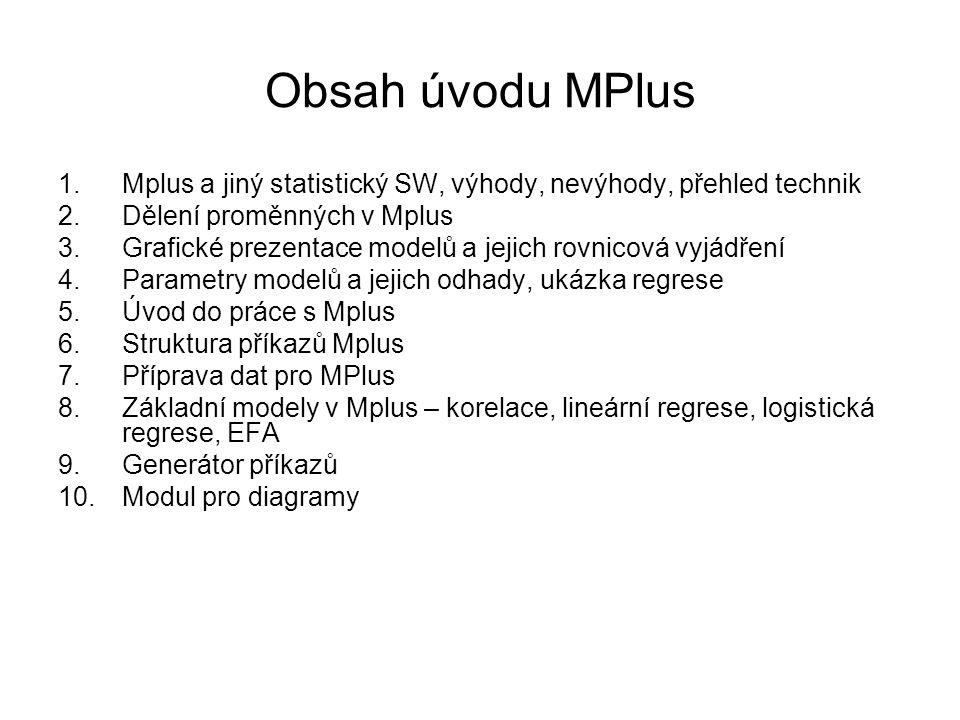 Obsah úvodu MPlus 1.Mplus a jiný statistický SW, výhody, nevýhody, přehled technik 2.Dělení proměnných v Mplus 3.Grafické prezentace modelů a jejich r
