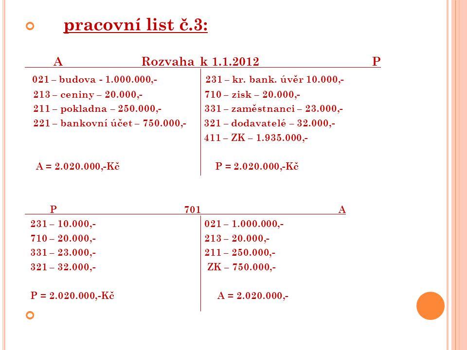 1.a) 321 – dodavatelé = + 3.000,- = 35.000,- b) 132 - zboží na skladě = + 3.000,- = 3.000,- 2.