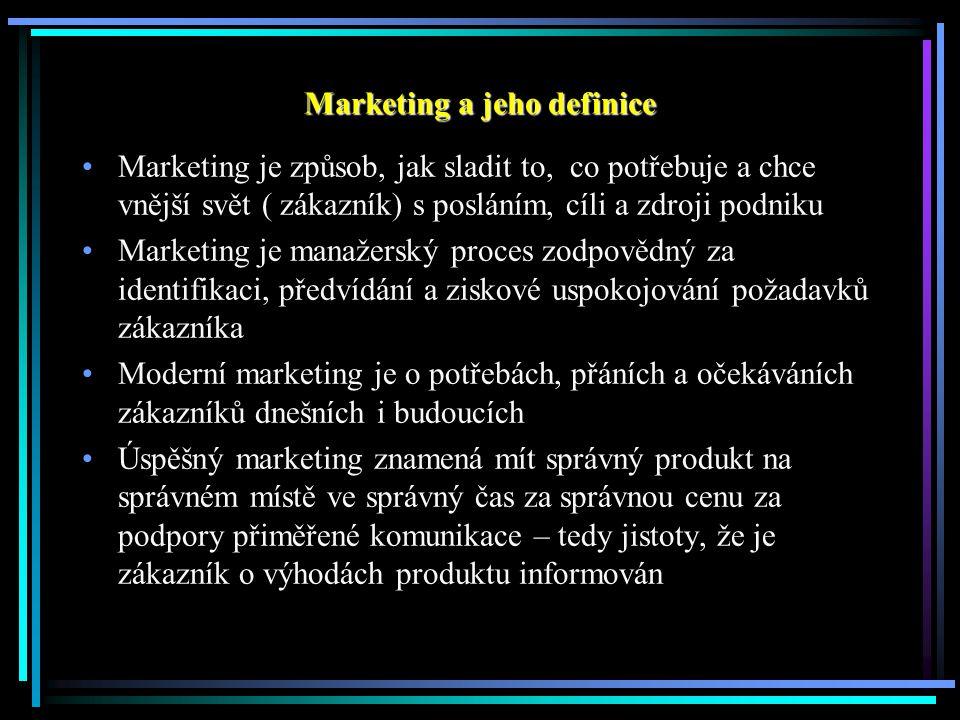 Marketing a jeho definice Marketing je způsob, jak sladit to, co potřebuje a chce vnější svět ( zákazník) s posláním, cíli a zdroji podniku Marketing je manažerský proces zodpovědný za identifikaci, předvídání a ziskové uspokojování požadavků zákazníka Moderní marketing je o potřebách, přáních a očekáváních zákazníků dnešních i budoucích Úspěšný marketing znamená mít správný produkt na správném místě ve správný čas za správnou cenu za podpory přiměřené komunikace – tedy jistoty, že je zákazník o výhodách produktu informován